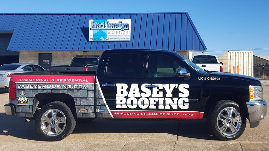 Roofing Vehicle Wrap : Tulsa roofing company partial silverado truck wrap