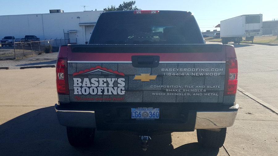 Tulsa Roofing Company Partial Silverado Truck Wrap