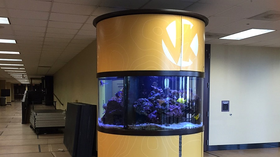 Victory christian fish tank wrap precision sign design for Fish store tulsa