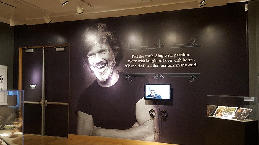 Woody Guthrie Center Kris Kristofferson Exhibit Interior Wall Mural